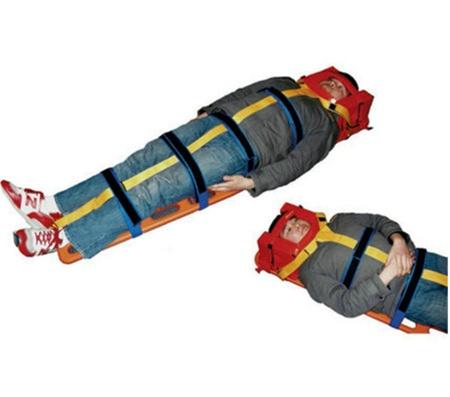 emergency medical stretcher strapping system for backboards spine